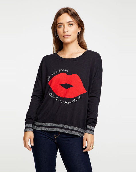 French Lips Cotton Cashmere Crew Neck Pullover