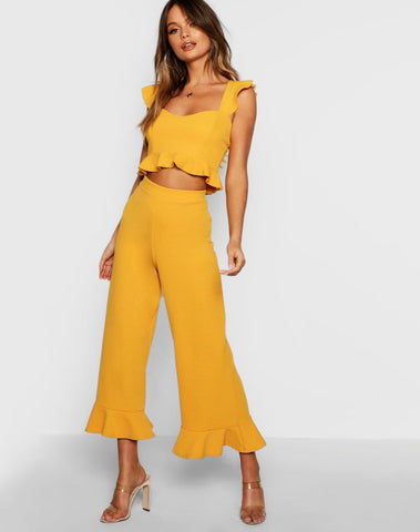 Frill Bralet & Hem Pants Two-piece Set