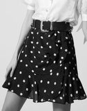 Frilly short black viscose skirt with dots