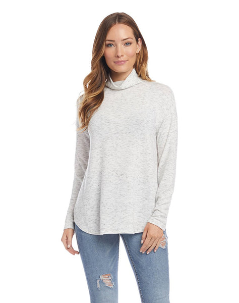 Funnel Neck Shirttail Top