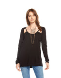 GAUZE JERSEY SCOOP NECK V BACK VENTED LONG SLEEVE T