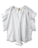 Gauze Short Sleeve Peasant Top | White