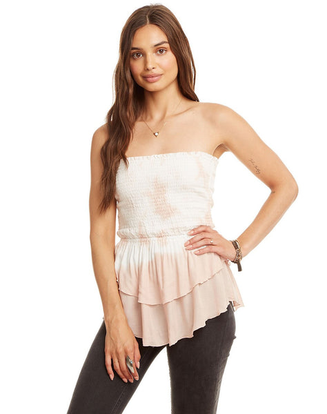 Gauze Tiered Peplum Smocked Crop Top