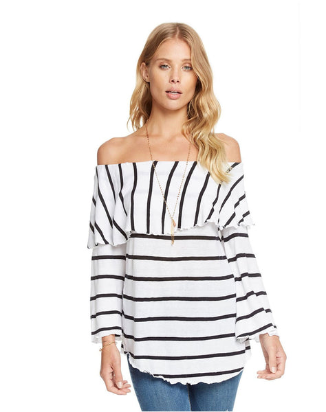 Gauzy Cotton Jersey Off Shoulder Shirttail Ruffle Boho Top