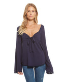 GAUZY COTTON JERSEY TIE FRONT SWEETHEART BELL SLEEVE TOP