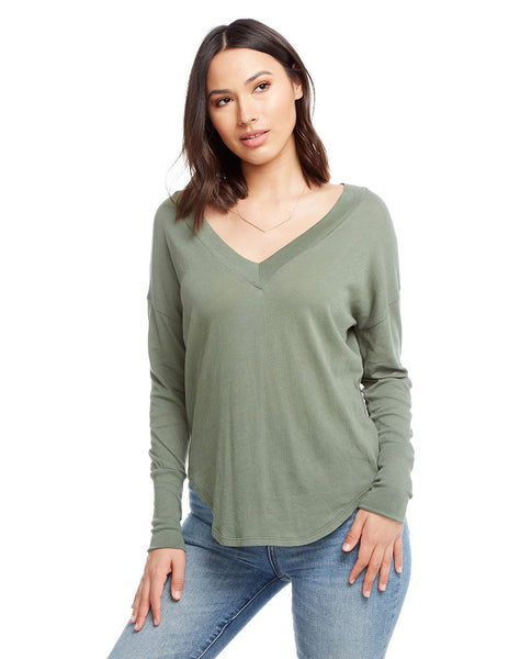Gauzy Cotton Long Sleeve Deep V-neck Shirttail Tee With Cuffs
