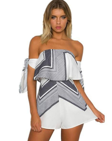 Geometric Printed Off Shoulder Romper