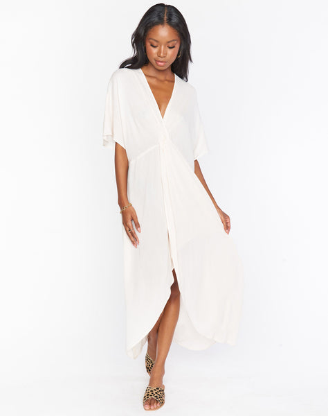 Get Twisted Maxi Dress ~ Shell White