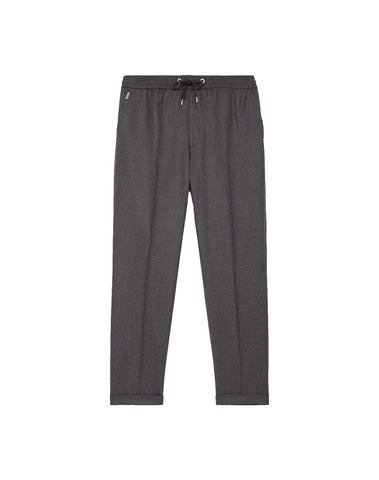 Gray Wool Pants With Elastic Band