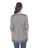 Green Print V-neck Top