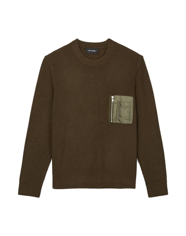 Green Round-neck Jumper With Bomber Pocket