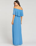 Hacienda Maxi Dress ~ Coastal Blue Chiffon