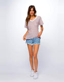 Heart Emb Vincent Stripe Frankie V Neck