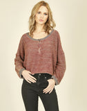 Heather Rust Boxy Crop Half Zip Sweater