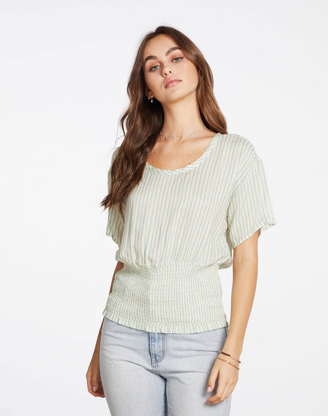 Heirloom Gauze Short Sleeve Smocked Waist Tee