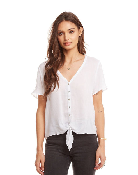 Heirloom Gauze V Neck Tie Front Short Sleeve Button Down Shirt