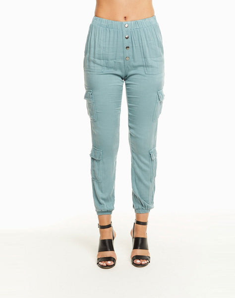 Heirloom Wovens High Waisted Snap Front Cargo Pant