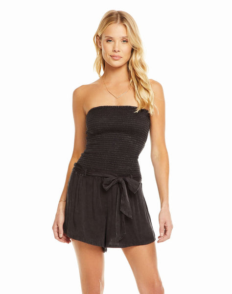 Heirloom Wovens Smocked Strapless Romper With Tie Waist