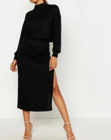 High Neck Ribbed Top & Midi Skirt Two-Piece Set