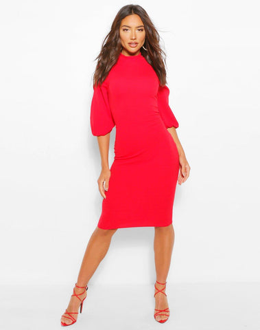 High Neck Split Sleeve Midi Dress
