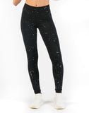 High Rise Ankle Legging With Sparkle Splatter