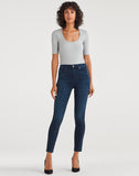 High Waist Ankle Skinny in Blue Black Santiago