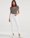 High Waist Ankle Skinny with Exposed Button Fly in White Runway