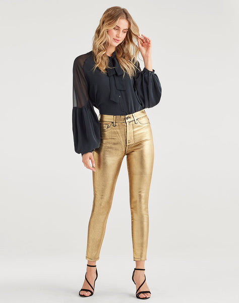 High Waist Ankle Skinny with Faux Pockets in Liquid Gold
