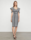 Houndstooth Jacquard Sheath Dress