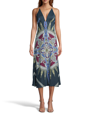 Indigo Medallion Silk Midi Slip Dress