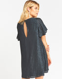 Jenner Dress ~ Charcoal Cheetah Silky