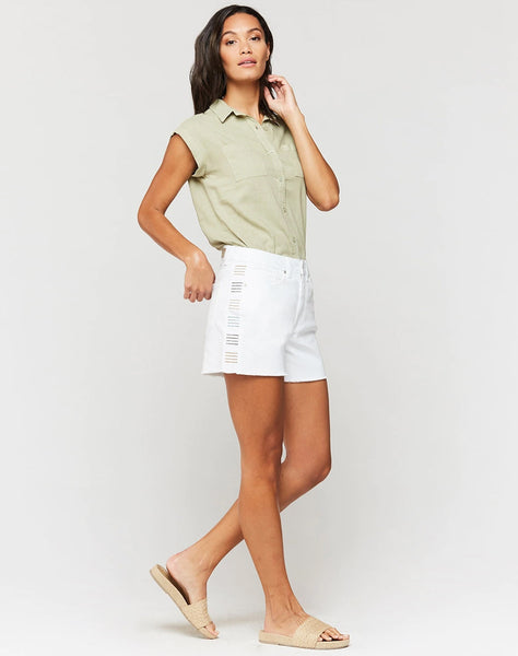 Jenny Embroidered Stripe Mid-Rise Shorts