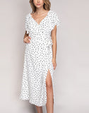KAMILA V-NECK POLKA DOT MIDI SLIT DRESS