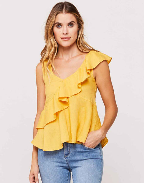 Karissa Honey Gold Sleeveless Ruffle Front Top