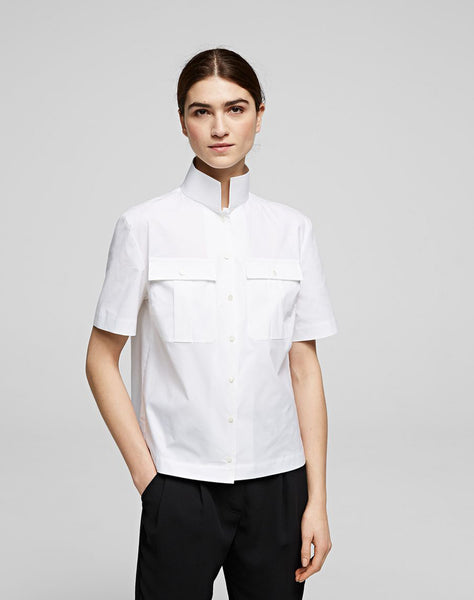 KARL SHORT SLEEVE HIGH-COLLAR SHIRT