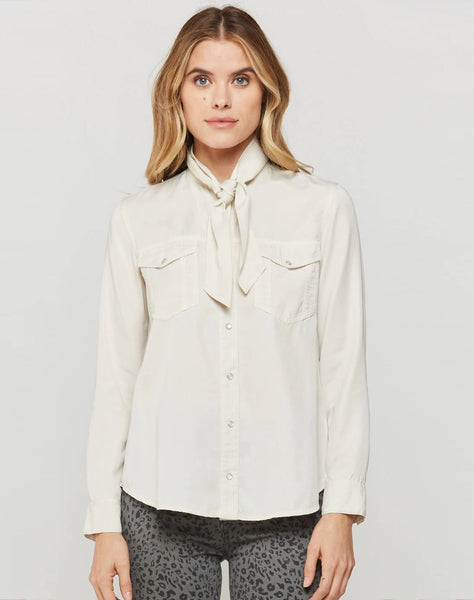 Knox Ivory Tie-neck Button-Up Top