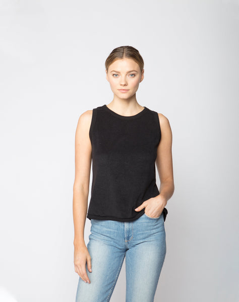 Lace Back Loop Terry Tank