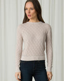 Lace Stitch Long Sleeve Crew