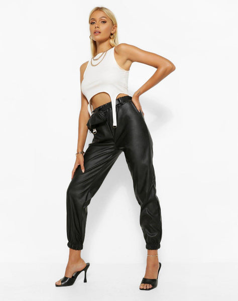 Leather Look Jogger Trouser With Belted Bag
