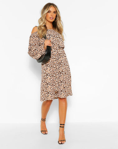 Leopard Print Off The Shoulder Midi Dress