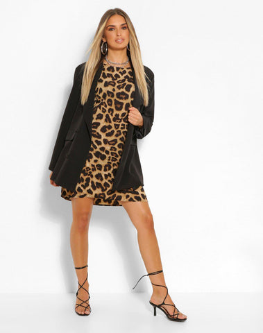 Leopard Print Puff Sleeve Shift Dress