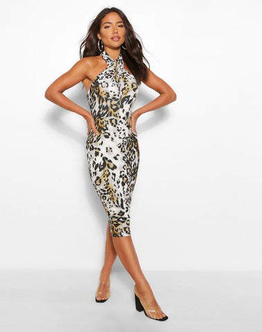 Leopard Print Wrap Front Halter Neck Midi Dress