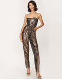 Leopard Sequins Jess Sweetheart Jumpsuit