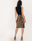 Leopard Sequins Long Pencil Skirt