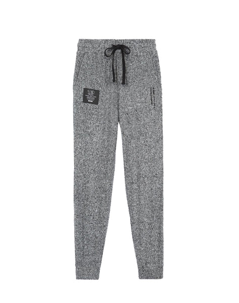 Light gray joggers in fleece with zipper