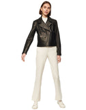 LINDEN TEXTURED LEATHER MOTO JACKET