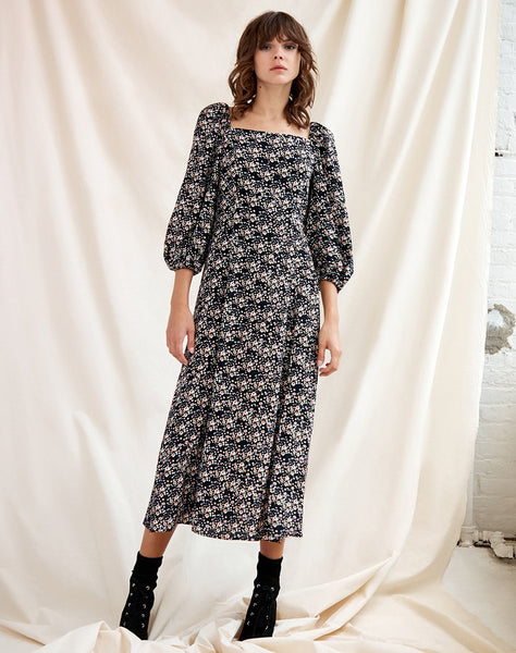 Lindsey Square Neck Midi With Side Slit Dress Winter Fresh