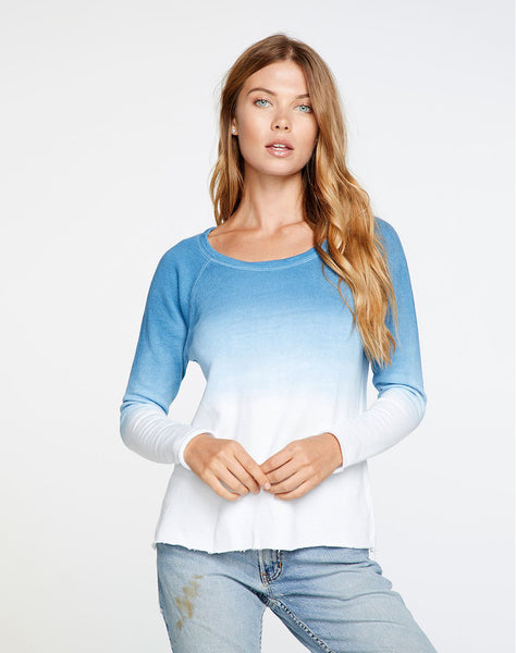 Linen French Terry Long Sleeve Raglan Pullover in Dip Dye