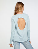 Linen French Terry Long Sleeve Raglan Pullover in Powder Blue