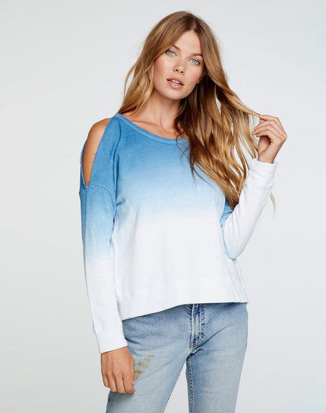 Linen French Terry Long Sleeve Vented Dolman Pullover in Dip Dye